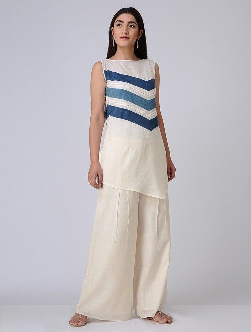Ivory-Blue Cotton Khadi Tunic with Asymmetrical Hem