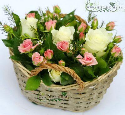 bokros rózsa kosárka (9 szál) - Szirom