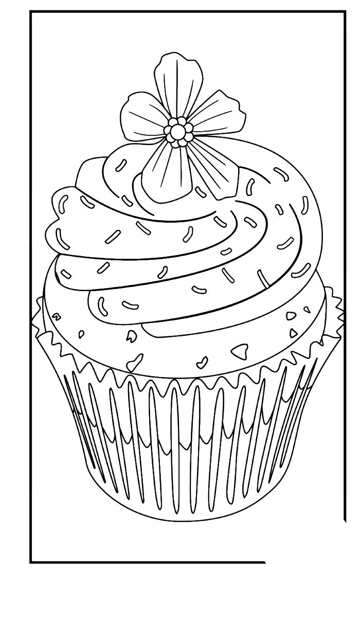 Free coloring pages kitchen utensils - Cupcake With Flower On It Coloring Pages Cookie Coloring Pages Kidsdrawing Free Coloring