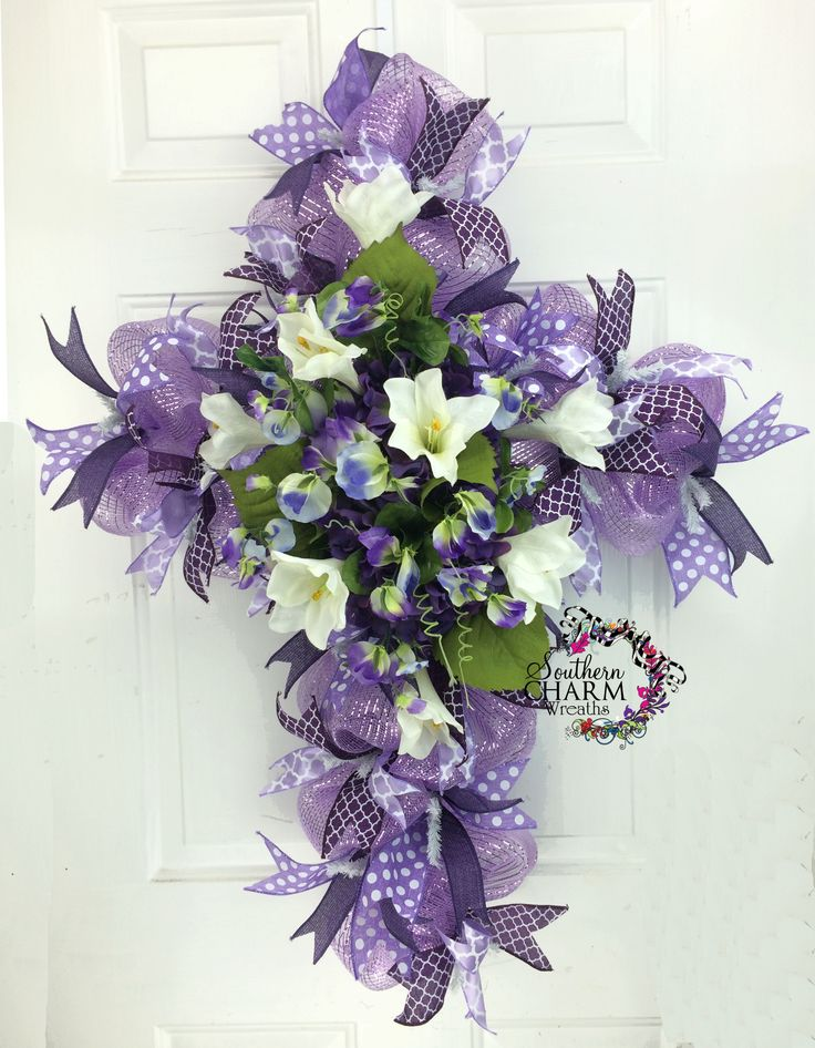 Easter Deco Mesh Cross Wreath With Lilies Hydrangeas And Pansies In Lavender Lent