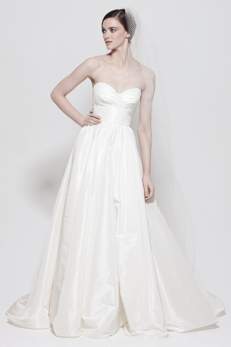 Great Watters Brides Gobi Gown White Silk Taffeta strapless gown with sweetheart neckline empire band with flower pin and full skirt