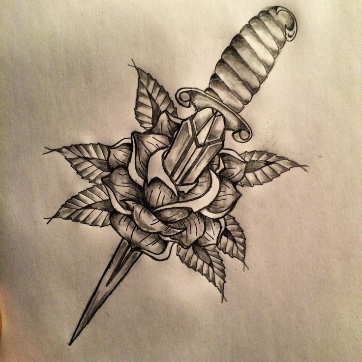 Dagger rose tattoo sketch by ranz secret meanings for Knife tattoo meaning