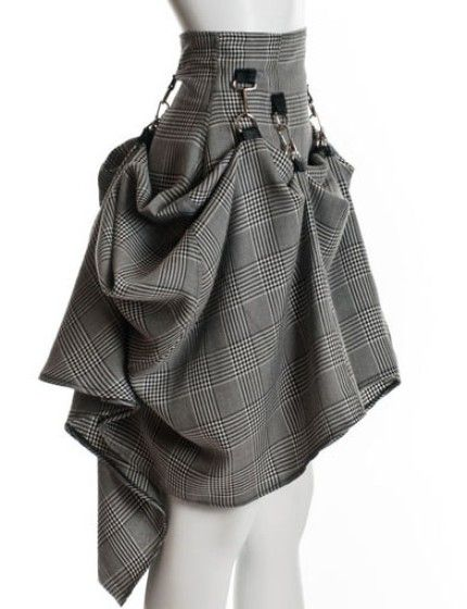 Gray Black Steam Punk Skirt by PinarEris on Etsy. Must consider this type of fastening when I make a hitched-up skirt for my doll.