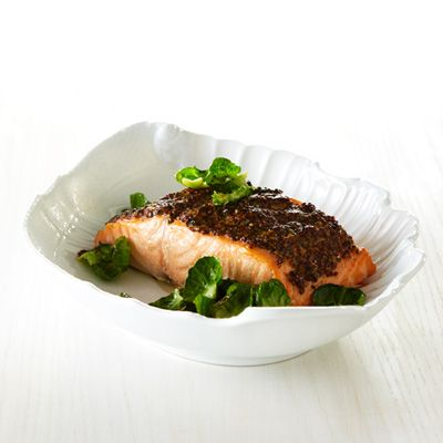"""Roast Salmon with Whole-Grain-Mustard Crust. When chefs Ken Norris and Jennifer Quist open Riffle NW in Portland, Oregon, this spring, they'll focus on sustainable seafood like line-caught wild chinook salmon. """"We use simple crusts so the fish stands out,"""" says Norris"""