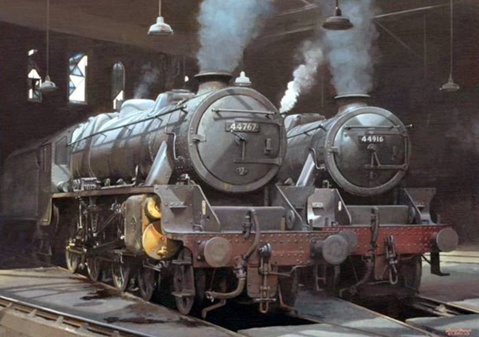Stanier Black 5's seen inside Holbeck engine shed (55A) in 1966. - David French