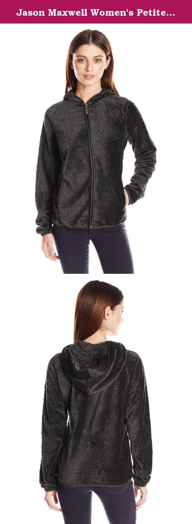 Jason Maxwell Women's Petite Patterned Textured Hooded Fleece Jacket, Caviar, Petite/X-Large. Full zip textured hoodie fleece jacket with princess seams.