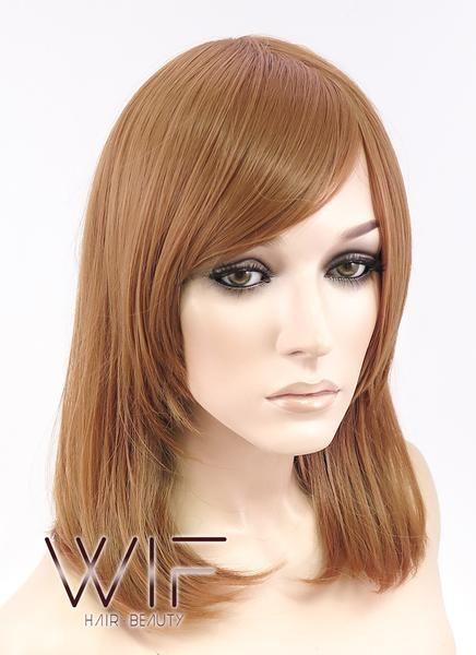"""16"""" Medium Wavy Light Brown Fashion Synthetic Hair Wig TBZ921A – Wig Is Fashion"""
