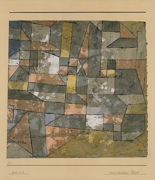 Paul Klee | North German City, 1930, Gouache and watercolor on gesso on paper mounted on cardboard, 33 × 34 cm