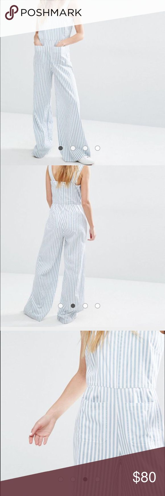 "NWT and in Package Rolla's Stripe Jumpsuit Sz M New With Tags and In Package, Rolla's Striped Jumpsuit, Size M. PRODUCT DETAILS: Jumpsuit by Rolla's, Pure-cotton woven fabric, Square neckline, Stripe design, Functional pockets, Wide legs, Regular fit - true to size, Machine wash, 100% Cotton.  The model is wearing a UK S/EU S/US XS and is 173cm/5'8"" tall. Please refer to the ASOS Size Chart for more exact Measurements. ASOS Pants Jumpsuits & Rompers"