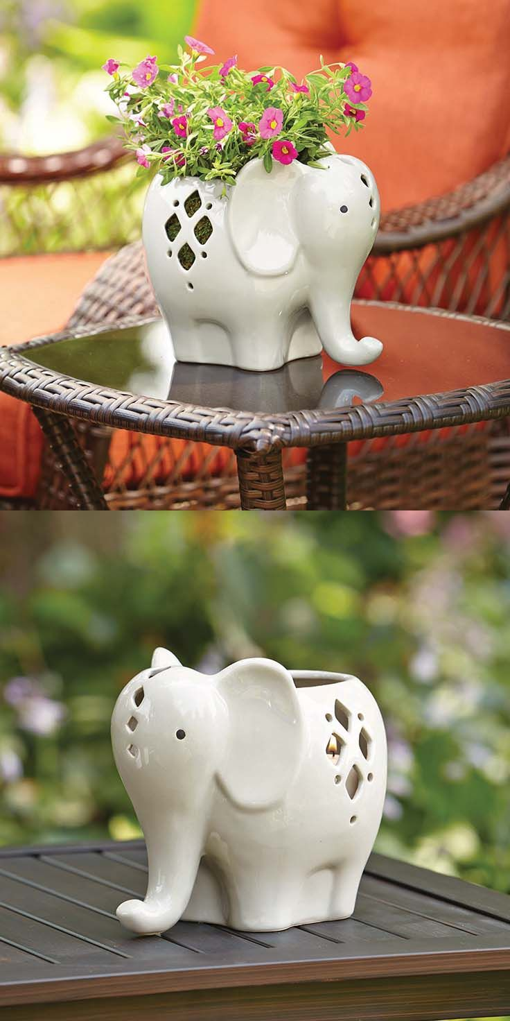 The Cutest Lanterns We Ever Did See And Versatile Too Add Some Soil Elephant Decorationselephant Home