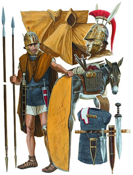 A Roman Legionary from the Republic period, 298-105 BC. He is from the Triarii or the third line of the maniple. The triarii were the veterans or the most experienced soldiers of the legion. There were 10 maniples in a legion at this time. The maniple would eventually be replaced by the cohort.