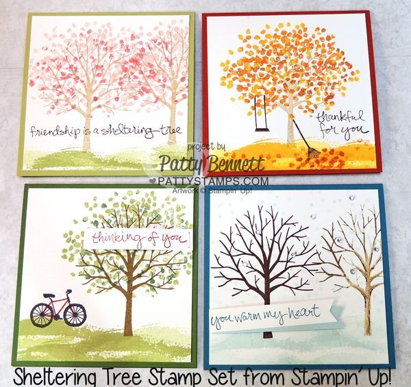 Stampin' Up! Sheltering Tree 4 Seasons Sampler of handmade note cards by Patty Bennett. #stampinup