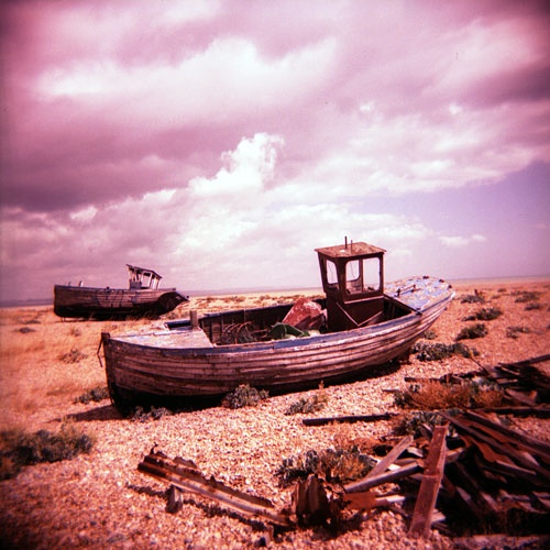 Beached boat photographed with the Holga Toy Camera
