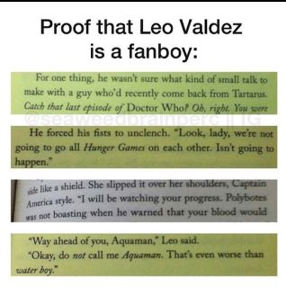 I literally fangirled when I read the part in the book when they mentioned Hunger Games. Leo is amazing!!
