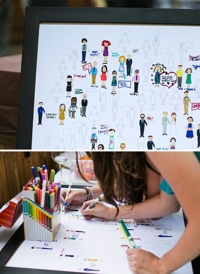 Awesome custom coloring page for your wedding guest book!