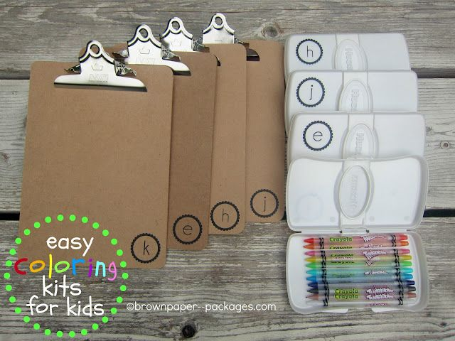 {clipboards   wipes cases = easy coloring kits for kids}