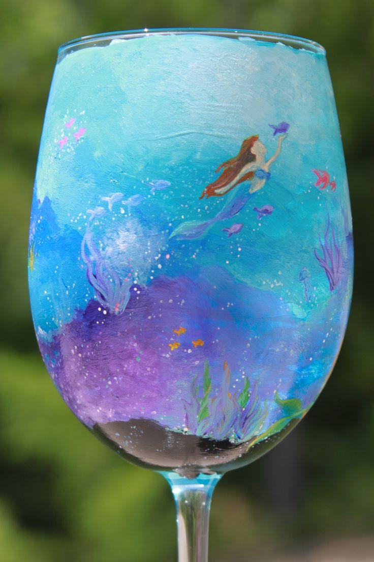 Underwater Mermaid Hand Painted Wine Glass Galaxy