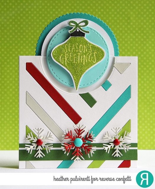 Card by Heather Pulvirenti. Reverse Confetti stamp set: Vintage Ornaments. Confetti Cuts: Vintage Ornament, Snowflake Trio, 2 Way Stripes Cover Panel, and Pop Up Circle. RC Cardstock: Stone, Iced Aqua, RC Aqua, Brick and Avocado. Christmas card. Holiday card.