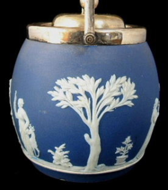 Biscuit Barrel Wedgwood England Dark Blue Jasper Dip Classical Figures Antique 1890s