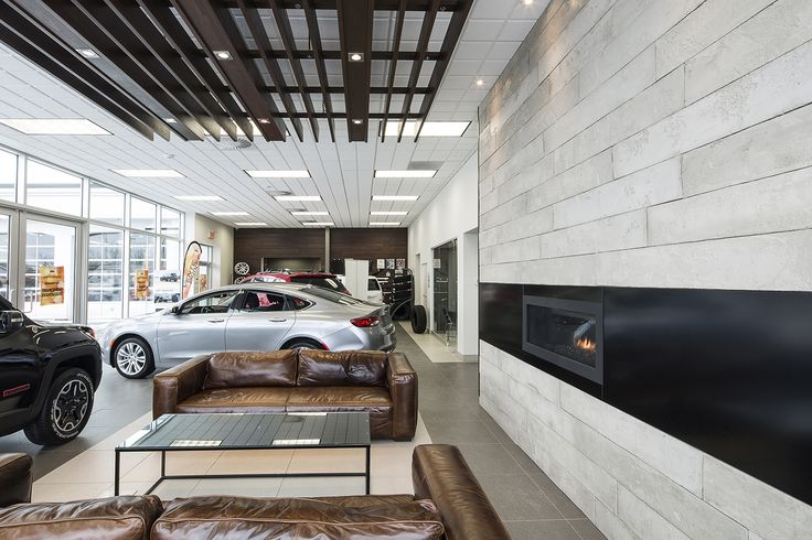 car dealer, commercial, concessionnaire de véhicules, fire place, foyer, waiting area, salle d'attente,