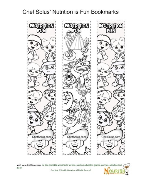 nutrition bookmarks free - Nutrition Coloring Pages Kids