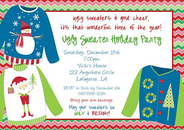 Best Christmas Party Invitations Images On Pinterest Christmas - Ugly sweater christmas party invitations template