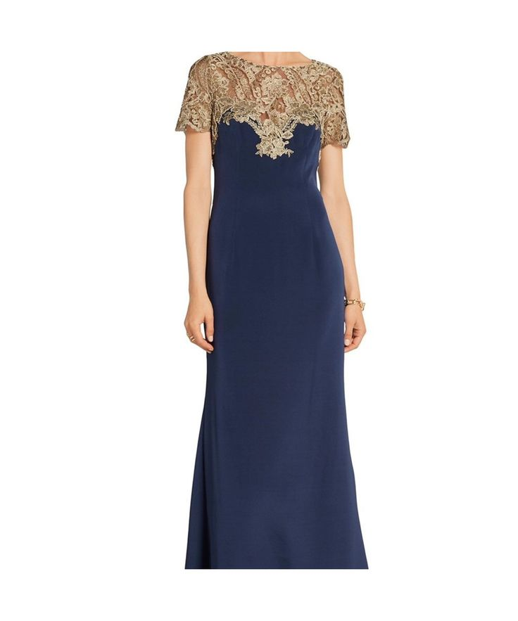Marchesa Notte Metallic Embroidered Tulle Cap Sleeve Gown