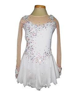 Tuniques de patinage, Dumb lumière Spandex élastiques Fleurs de dentelle net Patinage artistique vêtements blanc
