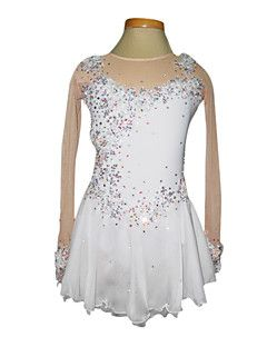 Skating+wear+/+skating+dress,Women's/Girl's+Dumb+Light+Spandex+Elasticated+Net+Lace+Flowers+Figure+Skating+Clothing+White+–+AUD+$+115.82