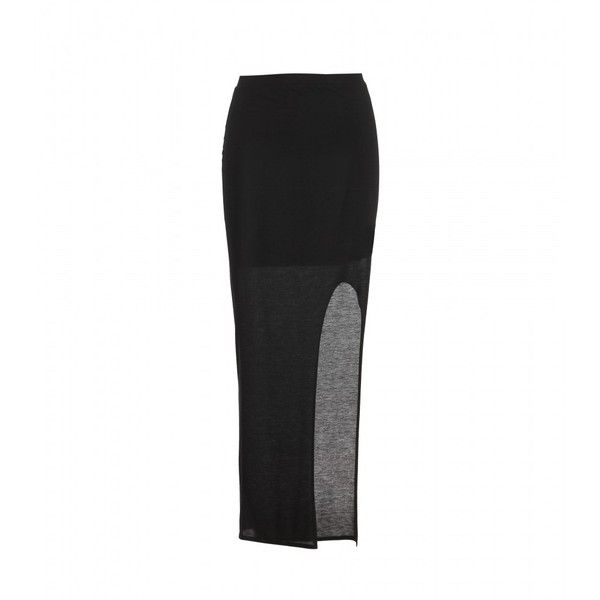 Helmut Lang Jersey Maxi Skirt With Slit (£94) ❤ liked on Polyvore featuring skirts, bottoms, black, long skirts, elastic waist long skirts, elastic waist skirt, long sheer skirt and see-through skirts