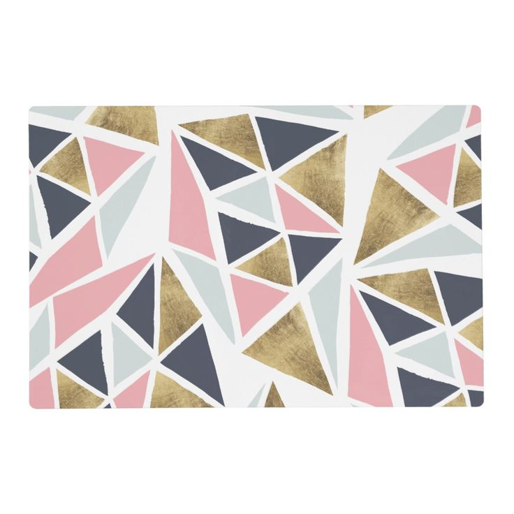 Geometric Pink Navy Blue Gold Triangles Pattern Placemat