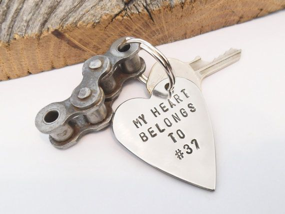 My Heart Belongs to Number Dirt Bike Keychain for Boyfriend Motorcross Gift Motocross Racing Husband Personalized for Son MotorCycle Chain