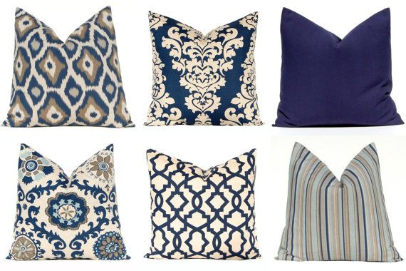Navy Blue Pillow Covers, Decorative Throw Pillow Cover One 20 x 20 Navy Taupe Aqua on Linen Cushion Sofa Pillows Indigo Blue Mix and Match