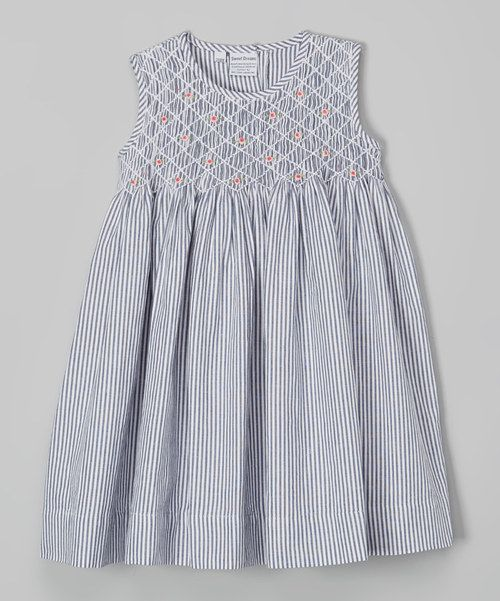 Look at this Charcoal Stripe Queen Smocked Dress - Infant, Toddler & Girls on #zulily today!