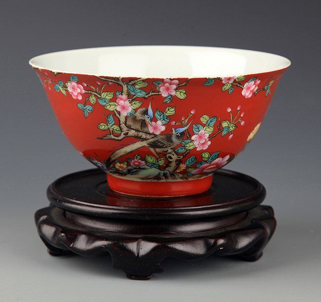 A RED-GROUND FLOWER PAINTED PORCELAIN BOWL. Qing Dynasty, W:6.0 in×H:3.0 in