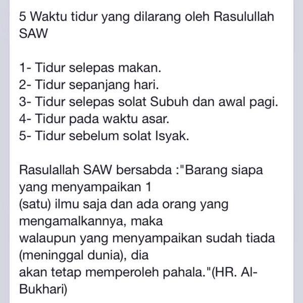 5 Waktu tidur yang dilarang oleh nabi kita Rasulluloh SAW~
