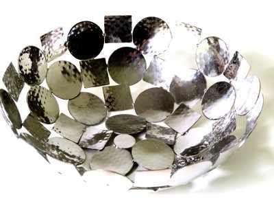 Edelstahl+Schale+gehämmert+silber+glänzend+Durchmesser+25+cm