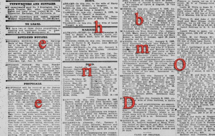 The One Absolute Best Way to Find More Ancestor Articles in Historic Newspapers Online (The Ancestor Hunt) -- interchanging letters