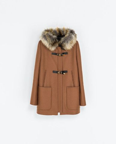 DUFFLE COAT WITH FUR HOOD - Coats - Woman | ZARA United States