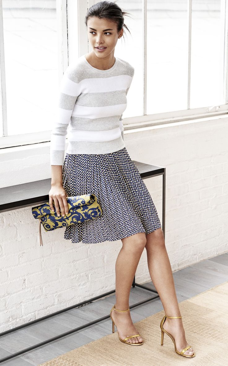 Mix prints for a chic office ready look. Pair a small print skirt with bold stripes for an effortless look that will take you beyond your 9 to 5 | Banana Republic