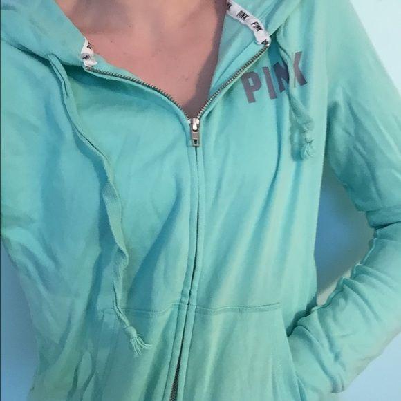 Blue Victoria's Secret Pink Zip up hoodie Sea foam green/ blue zip up sweatshirt with grey lettering. Victoria's Secret Other