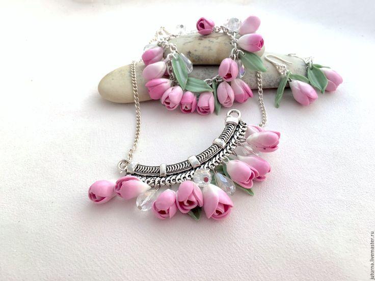 """Купить Комплект украшений колье браслет полимерная глина """"Весенние тюльпаны"""" - розовый, бледно-розовый"""