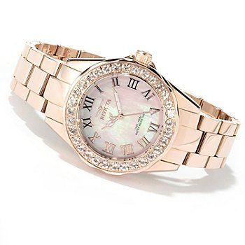 Invicta Women's Angel Blush Quartz Morganite Bezel Stainless Steel Bracelet Watch - Love this with the Morganite; so pretty for everyday.