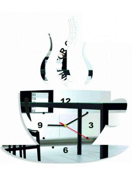 Nástěnné hodiny NA ZEĎ  káva a pohoda. Barva černá. Rozměr 36 x 32 cm