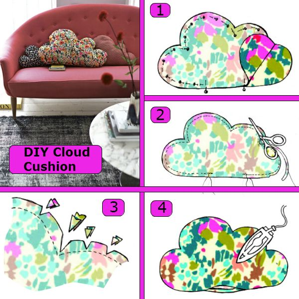 diyideas4home:  DIY Cloud Cushion Don't forget to Follow Us on Tumblr and keep up with the latest in Do It Yourself Ideas. This is a perfect weekend project. Add fun cloud cushions to any couch or chair and transform your room from dull to fun! Great for a child's room as well! Quite easy to make, you just need some printed fabric, your sewing machine, cushion filling, and your sewing kit! Try this DIY cloud cushion out this weekend and let yourself be…