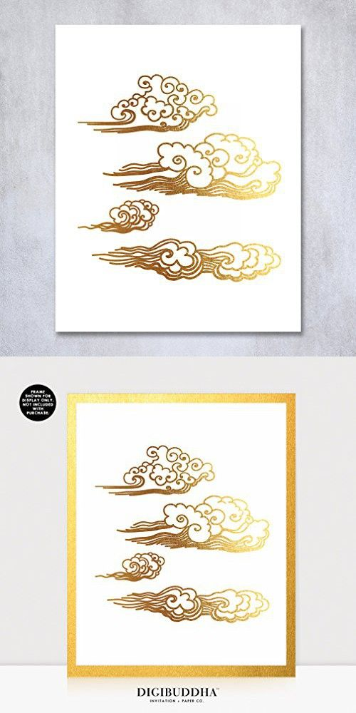Clouds Gold Foil Print Small Poster Abstract Hand Drawn Pattern Ocean Waves Asian Wall Art Modern Contemporary Gold Decor 5 inches x 7 inches B50