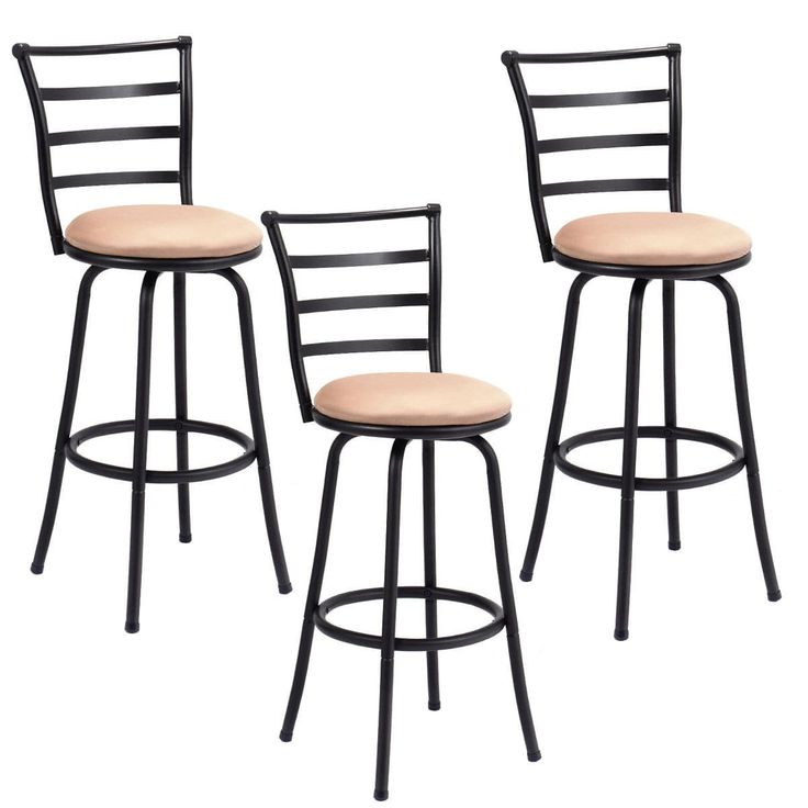Costway Set of 3 Swivel Bar Stools Steel Frame Counter Height Modern Barstool Pub Chairs, Multi