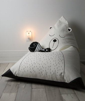 Sleeping Bear Bean Bag for Kids and Fish Plush  by Cyandegre