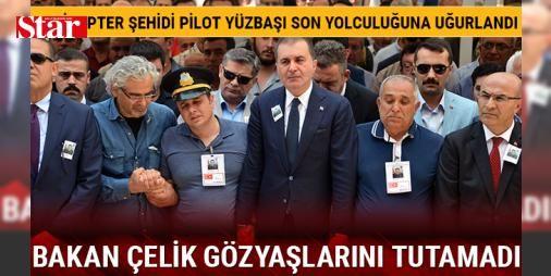 Helikopter şehidi pilot yüzbaşı son yolculuğuna uğurlandı, Bakan Çelik gözyaşlarını tutamadı: Kazada helikopteri kullanan pilotlardan olan şehit Yüzbaşı Serhat Sığnak için Sabancı Merkez Camii'nde tören düzenlendi. Adana Valisi Mahmut Demirtaş, milletvekilleri, 6'ncı Mekanize Piyade Tümen Komutanı Tümgeneral Hakan Atınç, Büyükşehir Belediye Başkanı MHP'li Hüseyin Sözlü, bürokratlar ile çok sayıda vatandaşın katıldığı cenaze töreninde, Avrupa Birliği Bakanı Ömer Çelik, ellerini hiç…