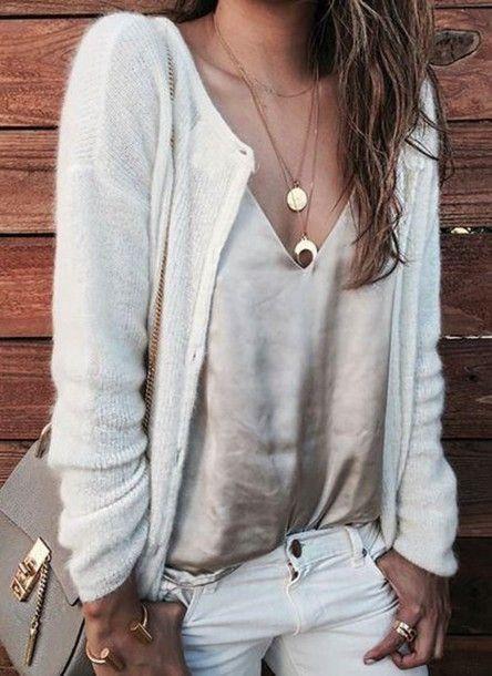 Top: cami nude satin cardigan white cardigan jeans white jeans grey bag bag chloe chloe bag necklace